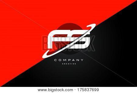 Fs F S  Red Black Technology Alphabet Company Letter Logo Icon