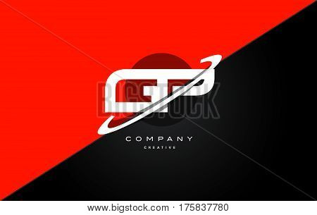 Gp G P  Red Black Technology Alphabet Company Letter Logo Icon