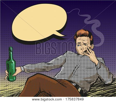 Vector illustration of man holding bottle in his hand and smoking cigarette. Sad intoxicated and relaxed man in retro pop art comic style.