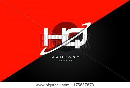 Hq H Q  Red Black Technology Alphabet Company Letter Logo Icon