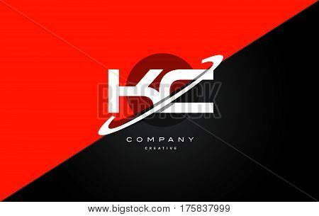 Kc K C  Red Black Technology Alphabet Company Letter Logo Icon