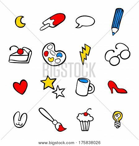 Abstract pattern: brush, paint, glasses, tea cup, muffin, pencil, heart, star, piece of pie, ice cream, high heels shoes. Isolated vector objects on white background.