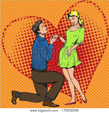 Vector illustration of young man kneeling to his girlfriend and making a proposal of marriage. Marriage proposal, heart background in retro pop art comic style.