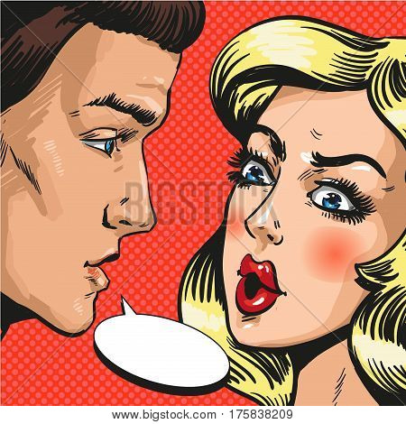 Vector illustration of young couple, husband and wife, lovers talking to each other. Serious talk or love conflict concept, speech bubble in retro pop art comic style.
