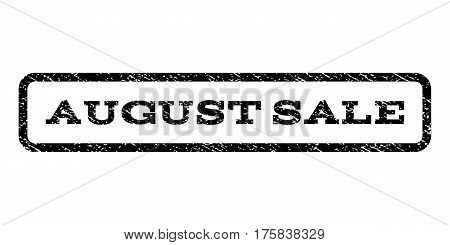 August Sale watermark stamp. Text caption inside rounded rectangle frame with grunge design style. Rubber seal stamp with scratched texture. Vector black ink imprint on a white background.