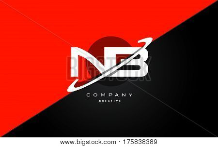 Nb N B  Red Black Technology Alphabet Company Letter Logo Icon