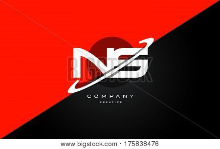 Ns N S  Red Black Technology Alphabet Company Letter Logo Icon