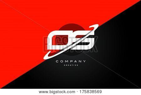 Os O S  Red Black Technology Alphabet Company Letter Logo Icon
