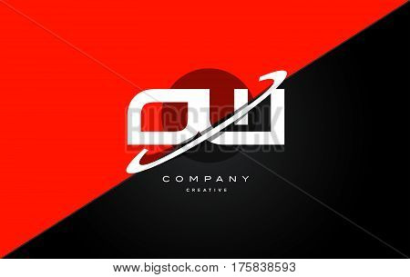 Ow O W  Red Black Technology Alphabet Company Letter Logo Icon