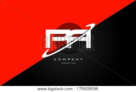Pa P A  Red Black Technology Alphabet Company Letter Logo Icon
