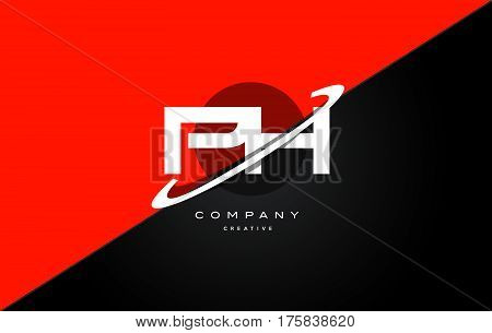Ph P H  Red Black Technology Alphabet Company Letter Logo Icon