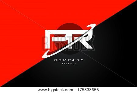 Pr P R  Red Black Technology Alphabet Company Letter Logo Icon