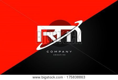 Rm R M  Red Black Technology Alphabet Company Letter Logo Icon