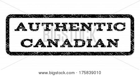 Authentic Canadian watermark stamp. Text tag inside rounded rectangle frame with grunge design style. Rubber seal stamp with dirty texture. Vector black ink imprint on a white background.