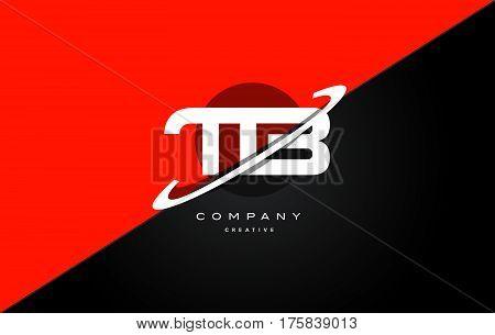 Tb T B  Red Black Technology Alphabet Company Letter Logo Icon