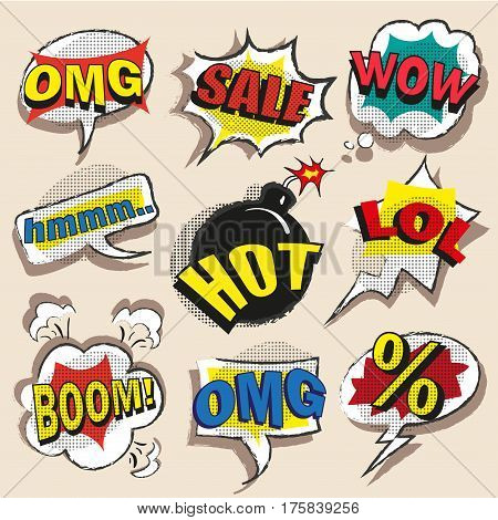 Vector vintage pop art comic speech and explosion bubble set with the most used words and abbreviations OMG, Hot, Sale, LOL, Boom, Wow, percentage sign.