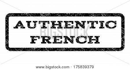Authentic French watermark stamp. Text tag inside rounded rectangle with grunge design style. Rubber seal stamp with dust texture. Vector black ink imprint on a white background.