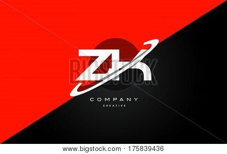 Zk Z K  Red Black Technology Alphabet Company Letter Logo Icon