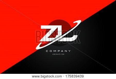 Zl Z L  Red Black Technology Alphabet Company Letter Logo Icon