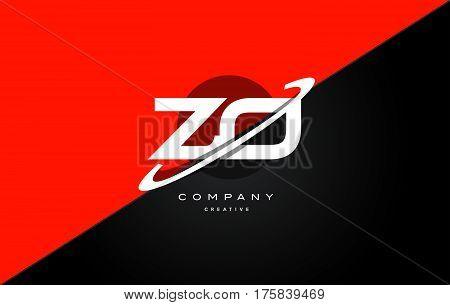 Zo Z O  Red Black Technology Alphabet Company Letter Logo Icon