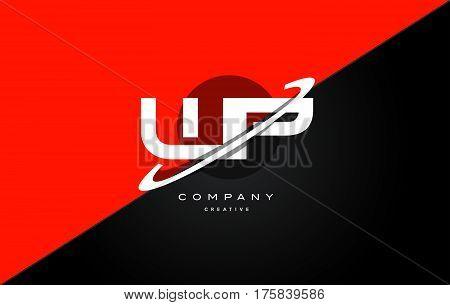 Wp W P  Red Black Technology Alphabet Company Letter Logo Icon