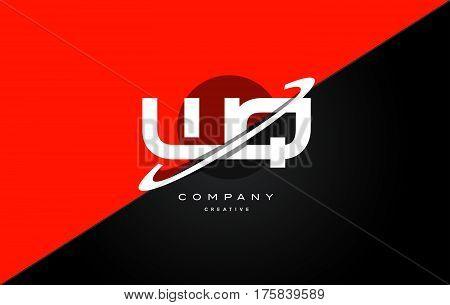 Wq W Q  Red Black Technology Alphabet Company Letter Logo Icon