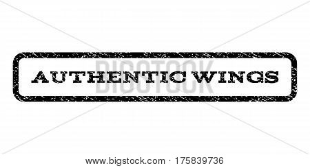 Authentic Wings watermark stamp. Text caption inside rounded rectangle with grunge design style. Rubber seal stamp with unclean texture. Vector black ink imprint on a white background.