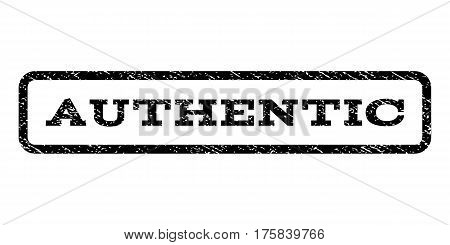 Authentic watermark stamp. Text caption inside rounded rectangle with grunge design style. Rubber seal stamp with scratched texture. Vector black ink imprint on a white background.