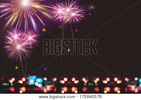 Illustration of Colorful fireworks on dark night background