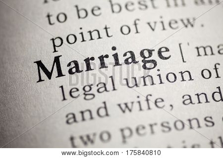 Fake Dictionary Dictionary definition of the word marriage.