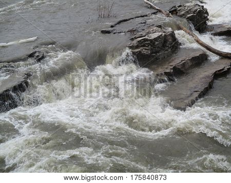 Rapids on the Winooski river, VT, during a winter flood.