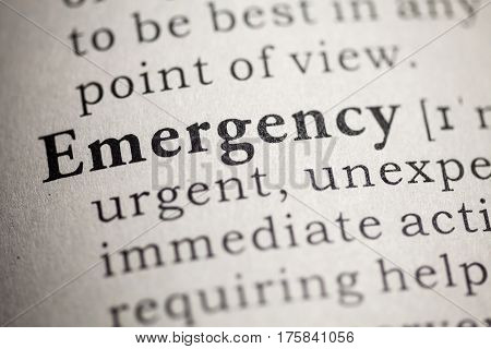 Fake Dictionary Dictionary definition of the word emergency.