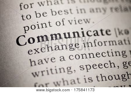 Fake Dictionary Dictionary definition of the word communicate.