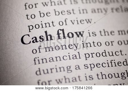 Fake Dictionary Dictionary definition of the word cash flow.