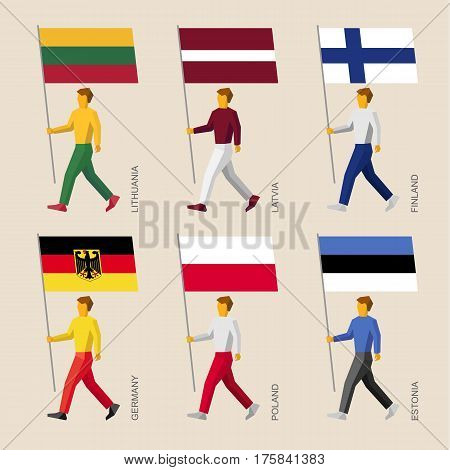 People With Flags: Germany, Latvia, Estonia, Lithuania, Finland, Poland