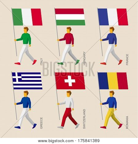 People With Flags: France, Romania, Hungary, Italy, Switzerland, Greece