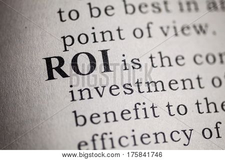 Fake Dictionary Dictionary definition of ROI. Return on investment