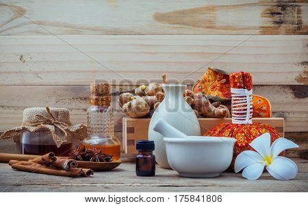 Natural Spa Ingredients And Herbal Compress Ball For Alternative Medicine And Relaxation. Thai Spa T