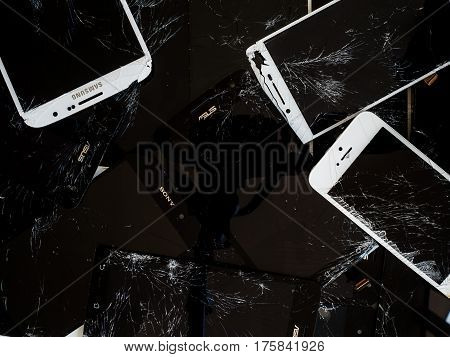 Chiangrai Thailand: March 8 2017 - Top view image of the group of broken smartphone screen (e-waste)