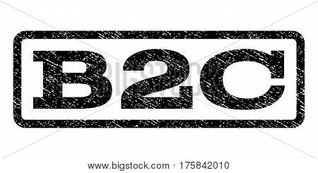 B2C watermark stamp. Text caption inside rounded rectangle with grunge design style. Rubber seal stamp with dirty texture. Vector black ink imprint on a white background.