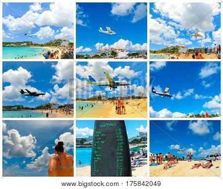 The collage from images of Maho Bay beach. The beach at Maho Bay is one of the world's premier planespotting destinations.