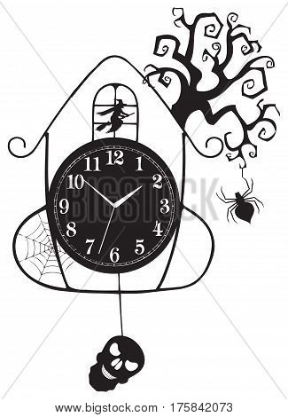 Clocks for Halloween celebration a spider and a skull on a tree in the pendulum clock.