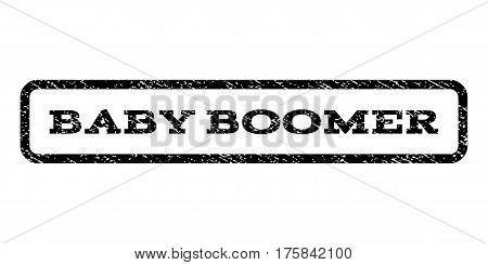 Baby Boomer watermark stamp. Text tag inside rounded rectangle frame with grunge design style. Rubber seal stamp with dirty texture. Vector black ink imprint on a white background.