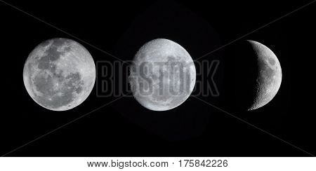 nature moon phases sphere shadow.The cycle from new moon to full moon