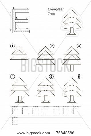 Vector illustrated alphabet with kid educational game to learn handwriting with easy gaming level for preschool kids, the drawing tutorial for letter E. Evergreen Tree.