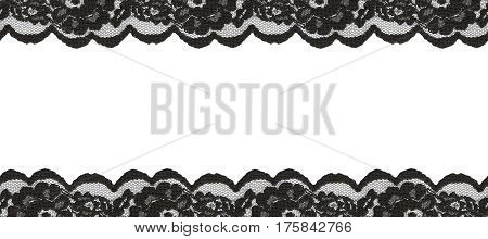 Black lace borders on white background. Seamless pattern.