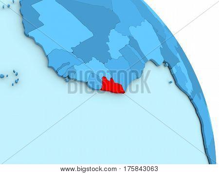Liberia On Blue Political Globe