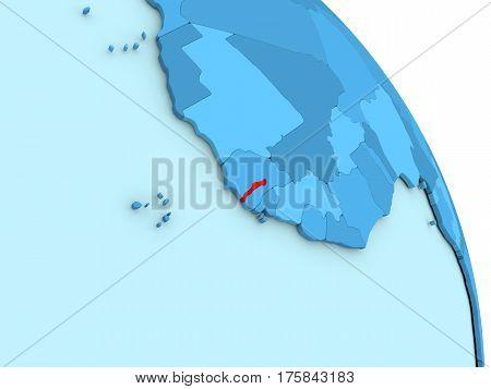 Gambia On Blue Political Globe
