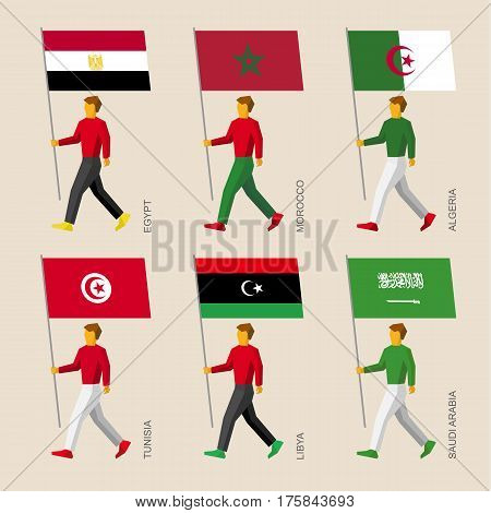 People With Flags: Egypt, Libya, Saudi Arabia, Tunisia, Morocco, Algeria