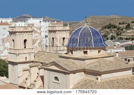 foreground of san bartolome church in the city of Petrer province of alicante spain